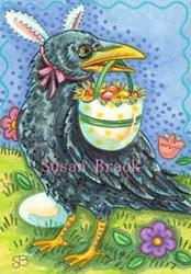 Art: HERE COMES THE EASTER CROW by Artist Susan Brack
