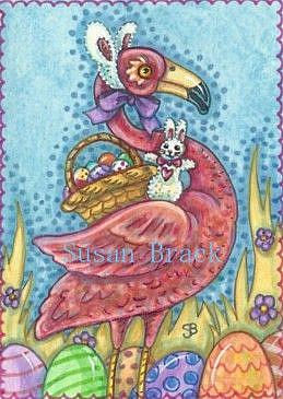 Art: EASTER EGGS AND BUNNY EARS by Artist Susan Brack