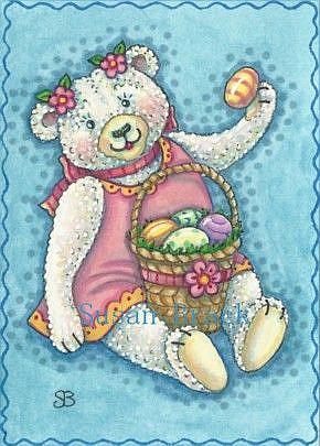 Art: EASTER EGG TEDDY by Artist Susan Brack