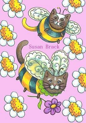 Art: BUMBLECATS - Daisy Pink Background by Artist Susan Brack