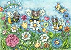 Art: BUMBLECATS - PLANT A BUMBLECAT GARDEN by Artist Susan Brack