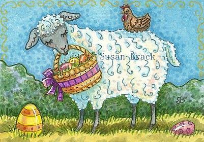 Art: EGG HUNT - Sheep by Artist Susan Brack