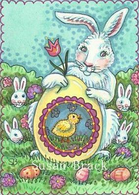 Art: HERE COME THE EASTER BUNNIES by Artist Susan Brack