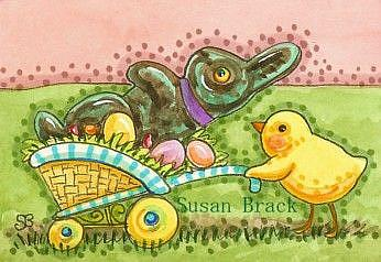 Art: RABBIT AND CHICK by Artist Susan Brack