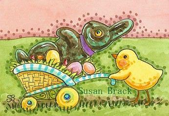 Art: RABBIT AND CHICK by Artist Susan Brack