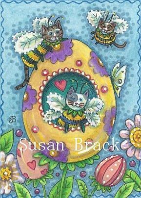 Art: Bumblecat - BUMBLECAT'S EASTER GARDEN by Artist Susan Brack