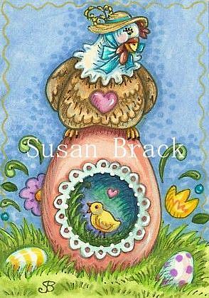 Art: SUGAR EGG HEN by Artist Susan Brack