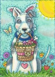 Art: BOW WOW EASTER BASKET by Artist Susan Brack