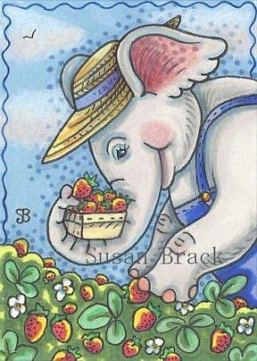 Art: U - PICK STRAWBERRIES by Artist Susan Brack