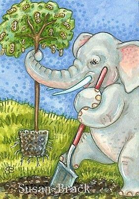 Art: THINK GREEN - ELEPHANTS PLANT PEANUT TREES by Artist Susan Brack