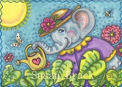 Art: ELEPHANT EARS IN ELLA'S GARDEN by Artist Susan Brack