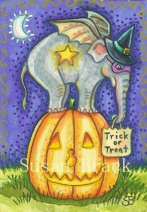 Art: ELEBATS LOVE PEANUT NOSED PUMPKINS by Artist Susan Brack