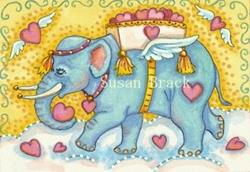 Art: CUPID'S BLUE ELEPHANT by Artist Susan Brack