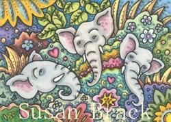 Art: ELEPHANT DREAMS IN A JUNGLE GARDEN by Artist Susan Brack