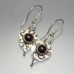 Art: Handmade Earrings: Garnet, Silver, Gold by Artist Andree Chenier