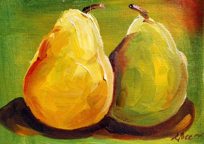 Art: Two Pear on Green by Artist Laurie Justus Pace