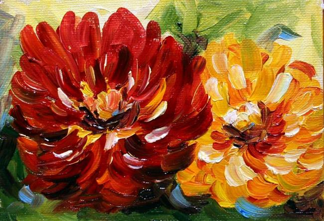 Art: Zinnia Red and Yellow by Artist Laurie Justus Pace