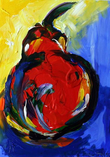 Art: Bright Red Pear by Artist Laurie Justus Pace