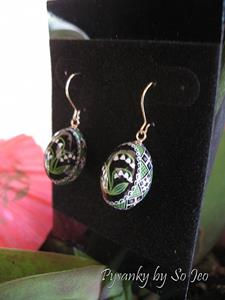 Detail Image for art Lily of the Valley Finch Pysanky Earrings