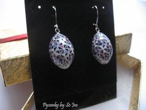 Detail Image for art Plum Triangles Finch Egg Pysanky Earrings