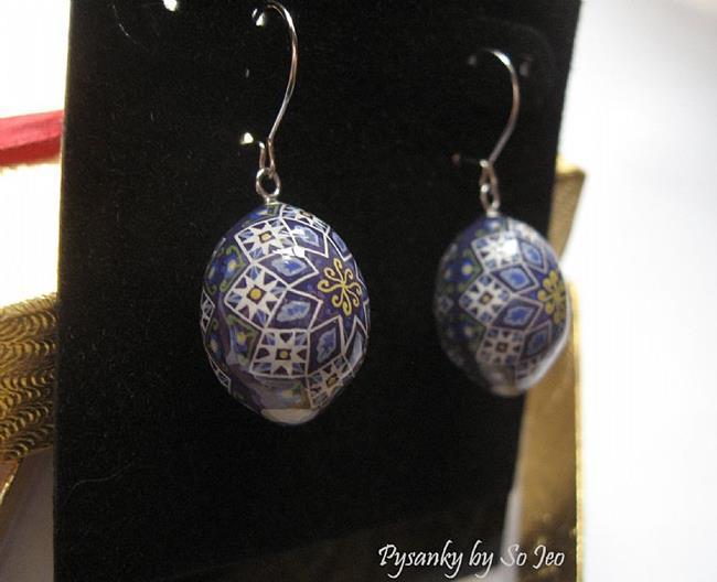 Art: Purple Stars Finch Egg Pysanky Earrings by Artist So Jeo LeBlond
