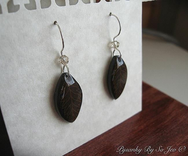 Art: Dark Brown Leaf Earrings by Artist So Jeo LeBlond