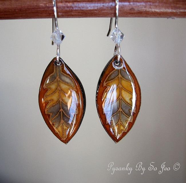 Art: Rust Brown Leaf Earrings by Artist So Jeo LeBlond