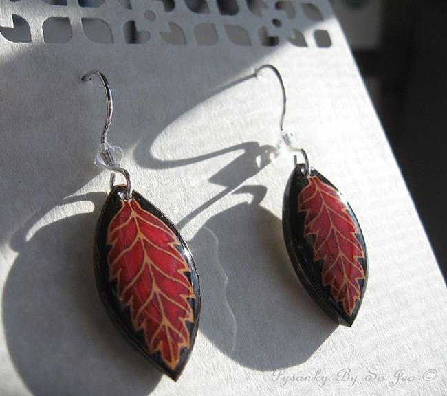 Art: Red On Black Leaf Earrings by Artist So Jeo LeBlond