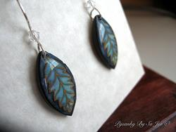 Art: Shades Of Blue Leaf Earrings by Artist So Jeo LeBlond