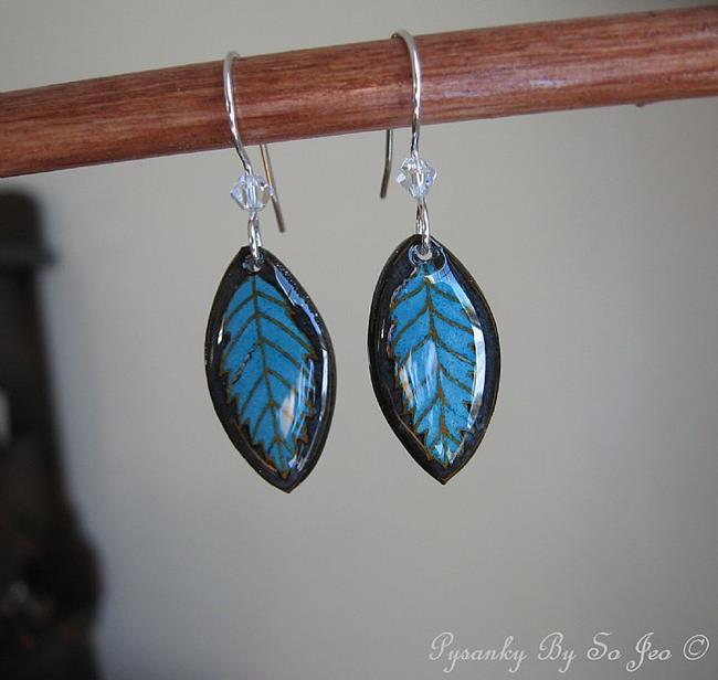 Art: Turquoise Leaf Earrings by Artist So Jeo LeBlond