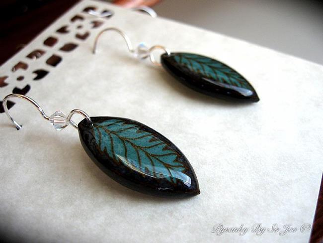 Art: Teal Leaf Earrings by Artist So Jeo LeBlond
