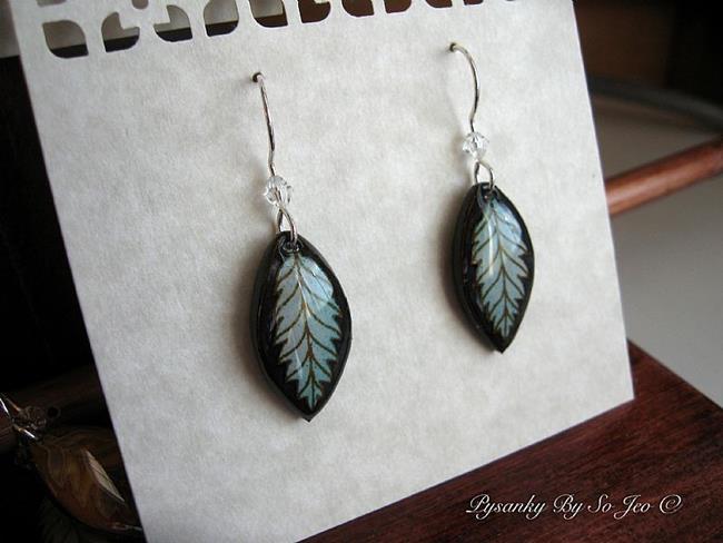 Art: Silvery Blue Leaf Earrings by Artist So Jeo LeBlond