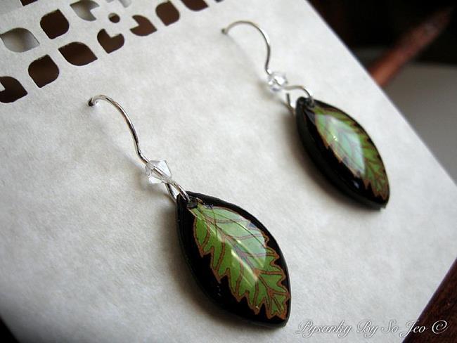 Art: Lime Green Leaf Earrings by Artist So Jeo LeBlond