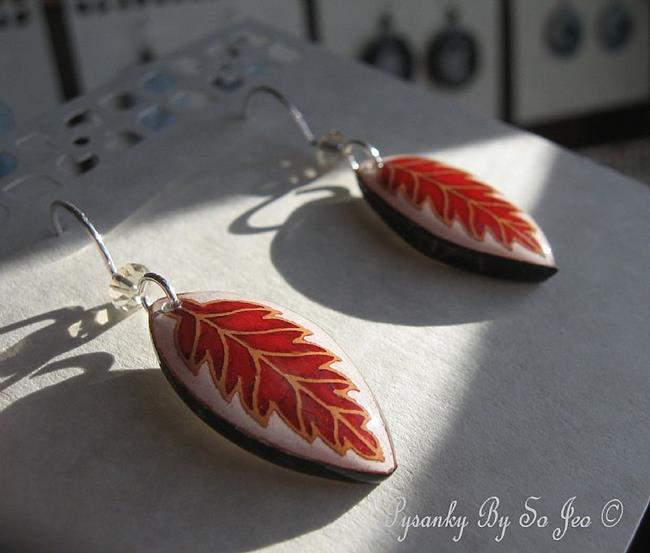 Art: Red Leaf Earrings by Artist So Jeo LeBlond