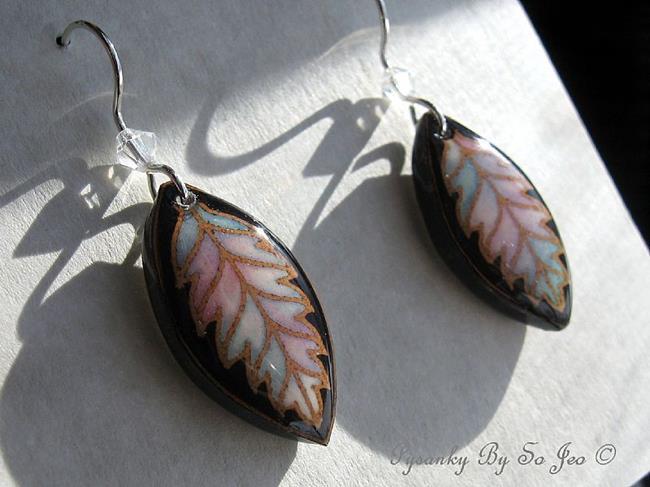 Art: Easter Pastels Pysanky Batik Eggshell Earrings by Artist So Jeo LeBlond