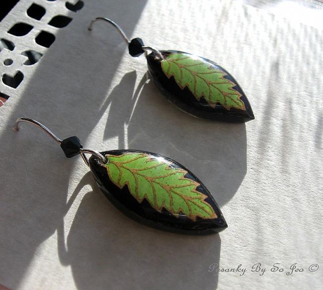 Art: Sublime Lime Pysanky Batik Eggshell Earrings by Artist So Jeo LeBlond
