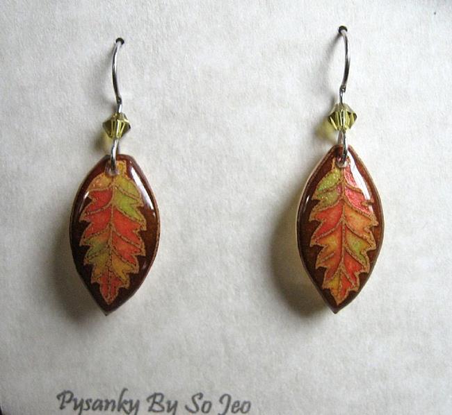 Art: Iridescent Fall Leaves Dangle Earrings by Artist So Jeo LeBlond