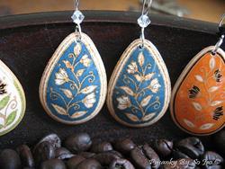 Art: Blue with White Flowers Teardrop Dangle Earrings by Artist So Jeo LeBlond