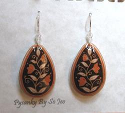 Art: Brown with Orange Flowers Teardrop Dangle Earrings by Artist So Jeo LeBlond