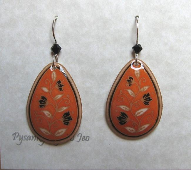 Art: Orange with Black Flowers Teardrop Dangle Earrings by Artist So Jeo LeBlond