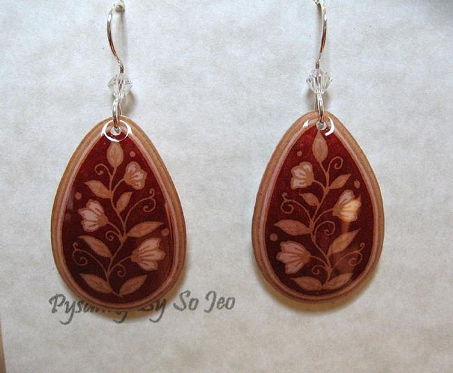 Art: Red with Cream Flowers Teardrop Dangle Earrings by Artist So Jeo LeBlond