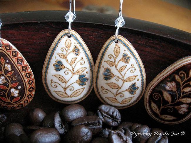Art: White with Blue Flowers Teardrop Dangle Earrings by Artist So Jeo LeBlond
