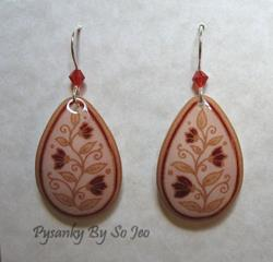 Art: Cream with Red Flowers Teardrop Dangle Earrings by Artist So Jeo LeBlond