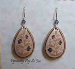 Art: Cream with Purple Flowers Teardrop Dangle Earrings by Artist So Jeo LeBlond