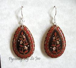 Art: Brown with White Flowers Red Diamond Border Teardrop Dangle Earrings by Artist So Jeo LeBlond