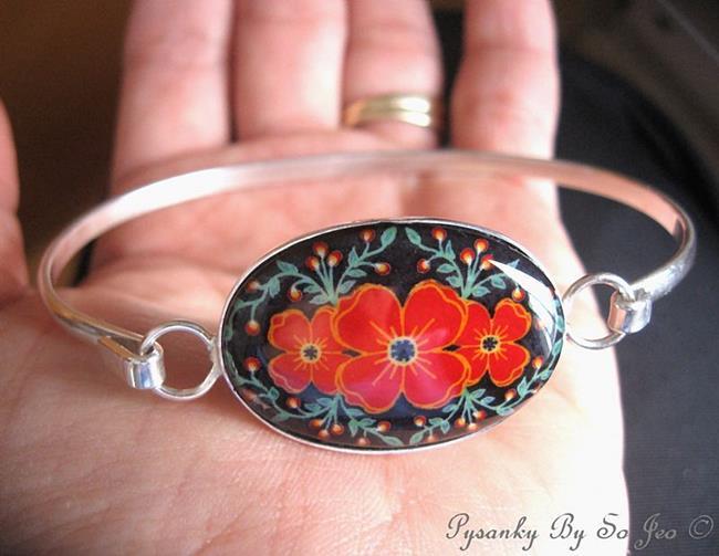 Art: Red Poppies Cuff Bracelet by Artist So Jeo LeBlond