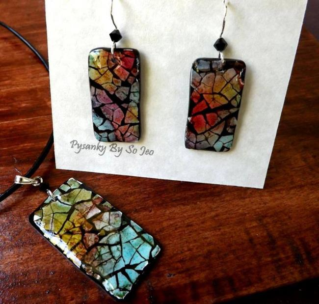 Art: Rainbow Rectangles Eggshell Mosaic Earrings Pendant by Artist So Jeo LeBlond