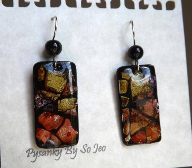 Art: Red Pepper Purple Lime Rectangle Eggshell Mosaic Earrings by Artist So Jeo LeBlond
