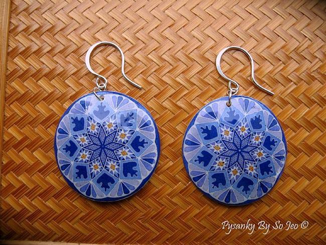Art: Purple Stars Pysanky Earrings by Artist So Jeo LeBlond