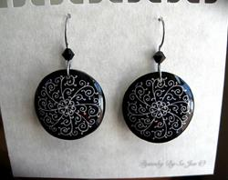 Art: Black Filigree Pysanky Batik Eggshell Earrings by Artist So Jeo LeBlond